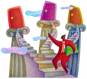 man with 3 stairways