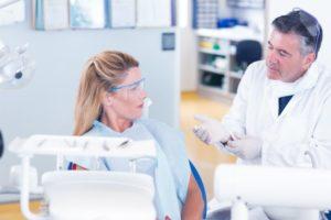 Dentist explaining IV sedation to patient